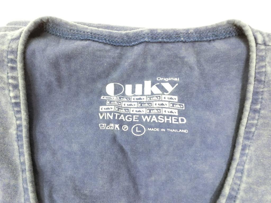 ouky vintage wosh tshirt navy logo